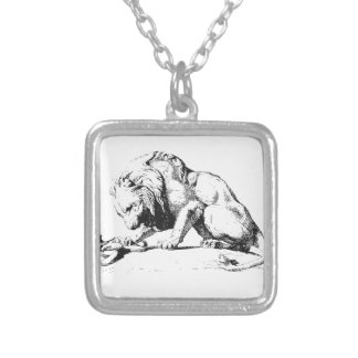 Lion And The Serpent Silver Plated Necklace