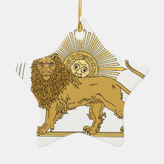 Lion and the sun ceramic ornament