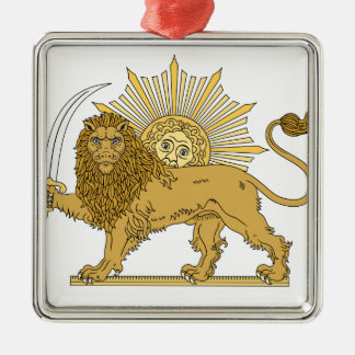 Lion and the sun metal ornament