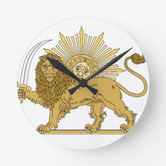 Lion and the sun round clock