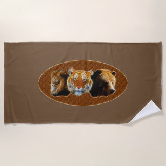Lion And Tiger And Bear Beach Towel