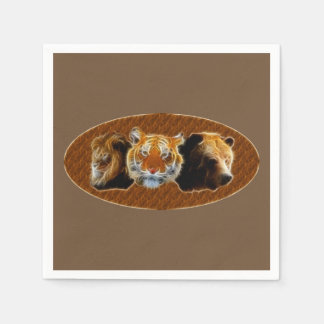 Lion And Tiger And Bear Disposable Napkins