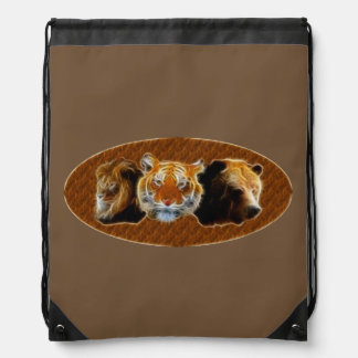 Lion And Tiger And Bear Drawstring Bag