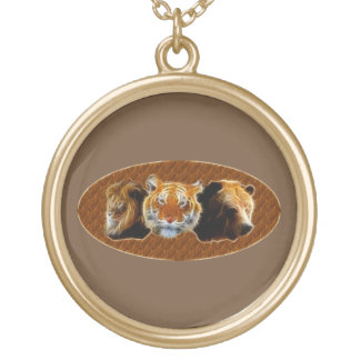 Lion And Tiger And Bear Gold Plated Necklace
