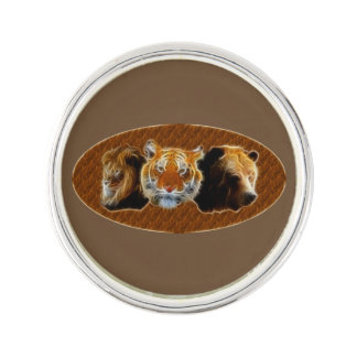 Lion And Tiger And Bear Lapel Pin