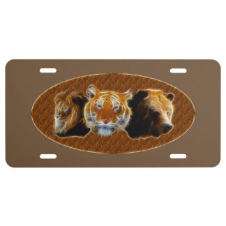 Lion And Tiger And Bear License Plate