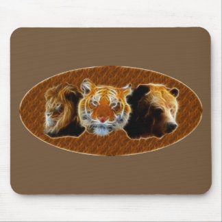 Lion And Tiger And Bear Mouse Pad