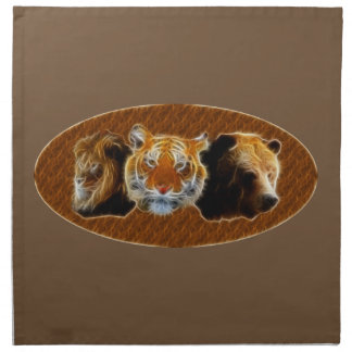 Lion And Tiger And Bear Napkin