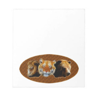 Lion And Tiger And Bear Notepad