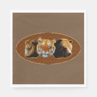 Lion And Tiger And Bear Paper Napkin