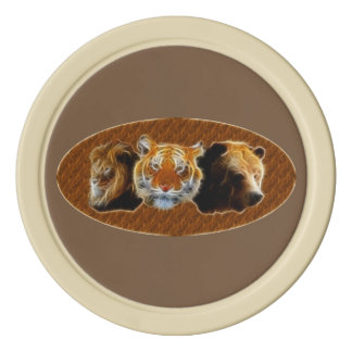 Lion And Tiger And Bear Poker Chips