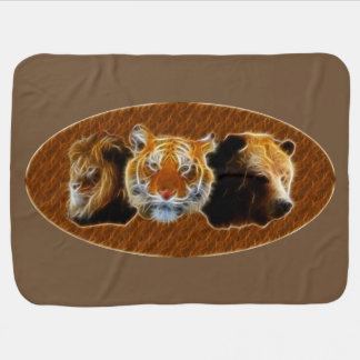 Lion And Tiger And Bear Stroller Blankets
