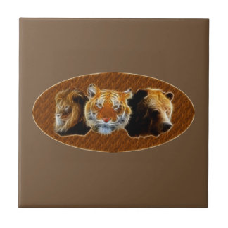Lion And Tiger And Bear Tile