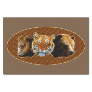 Lion And Tiger And Bear Tissue Paper