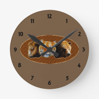 Lion And Tiger And Bear Wall Clocks