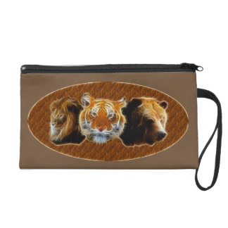 Lion And Tiger And Bear Wristlet Clutches