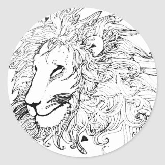 Lion and Triangles Classic Round Sticker