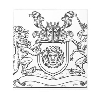 Lion and Unicorn Shield Heraldic Coat of Arms Notepad