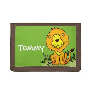 Lion animal graphic green name kids wallet