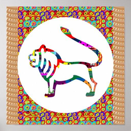 Lion Animal Wild Zoo King Ferocious Zodiac Symbol Posters