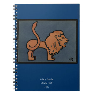 Lion - Antiquarian Colorful Book Illustration Note Books