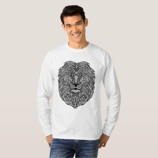 Lion Art on Men's Long-sleeve White T-Shirt