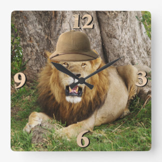 Lion at Maasai Mara 1 Square Wall Clock