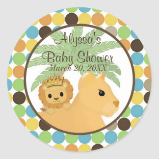 LION Baby Shower Invitation King of the Jungle Classic Round Sticker