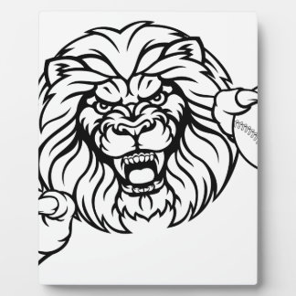 Lion Baseball Ball Sports Mascot Plaque