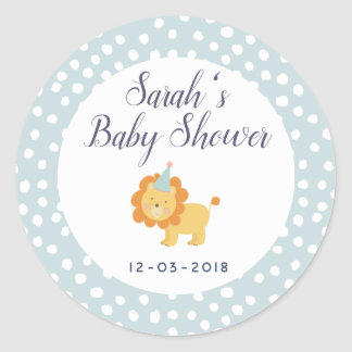 Lion Blue and white polkadot baby shower sticker