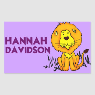 Lion book plate name purple id label sticker