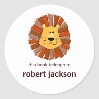 Lion Bookplates Classic Round Sticker