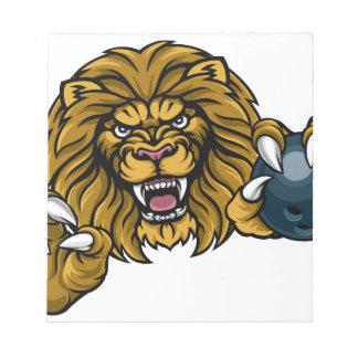 Lion Bowling Ball Sports Mascot Notepad
