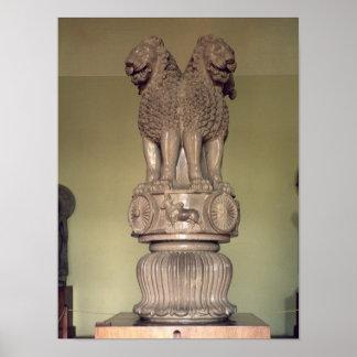Lion capital from the Pillar of Emperor Ashoka Poster