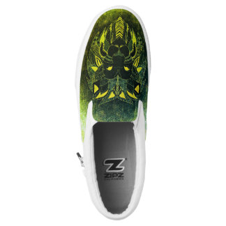 Lion Cat Patchwork Abstract Green Slip On Sneaker