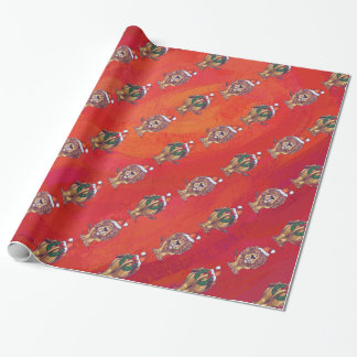 Lion Christmas On Red Wrapping Paper
