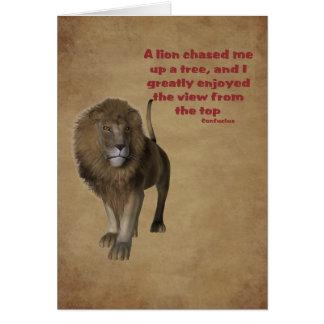 Lion Confucius Quote Inspirational Card