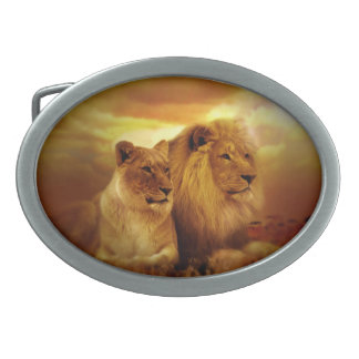 Lion Couple Oval Belt Buckle