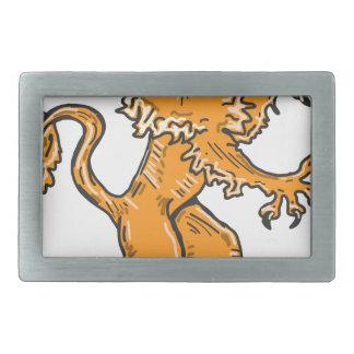Lion Creature Sketch Vector Rectangular Belt Buckles