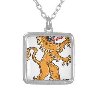 Lion Creature Sketch Vector Silver Plated Necklace