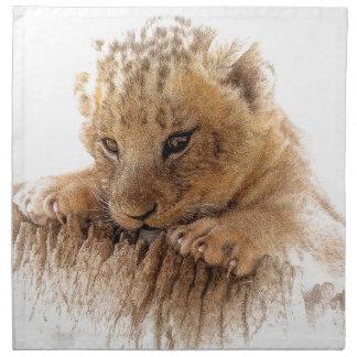 Lion cub close cute eyes lookout napkin