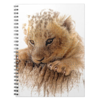 Lion cub close cute eyes lookout notebook
