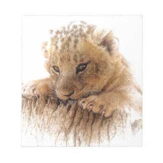 Lion cub close cute eyes lookout notepad