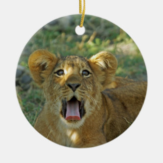 Lion Cub Yawn Ceramic Ornament