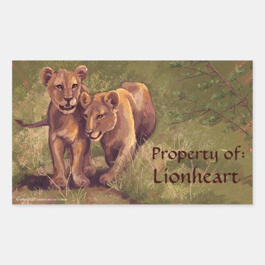 Lion Cubs Art Bookplate Stickers