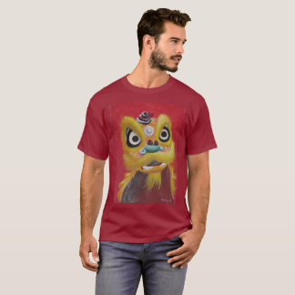 Lion Dance Gold Lion T-Shirt Dark background