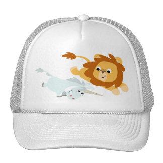 Lion de bande dessinée et casquette mignons de