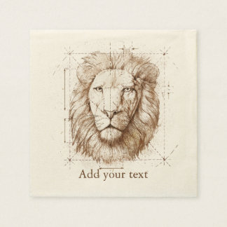 Lion Drawing Paper Napkin