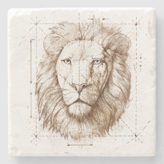 Lion Drawing Stone Coaster