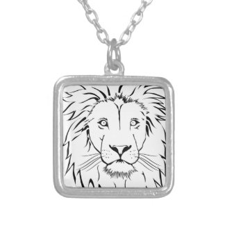 lion drawing vector design silver plated necklace